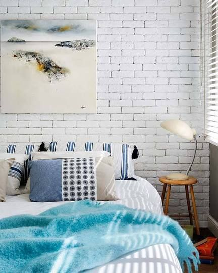 Painted And Dare I Say Pretty Brick Brick Wall Bedroom Brick Interior Wall Bedroom Design