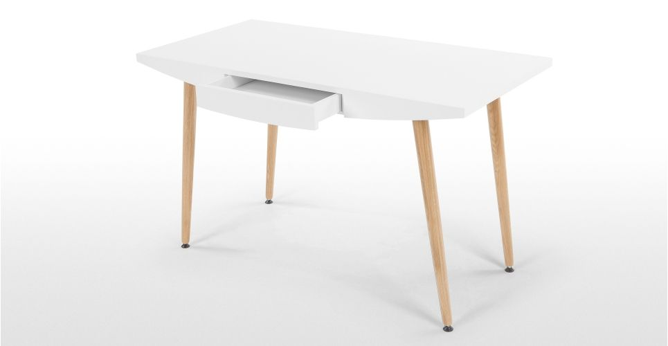 Camber Desk, White And Oak | Made.com Photo