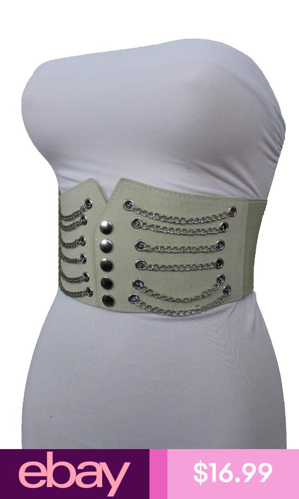 Women Cream Ivory Wide Corset Faux Leather Elastic Fabric Corset Waist Belt M L