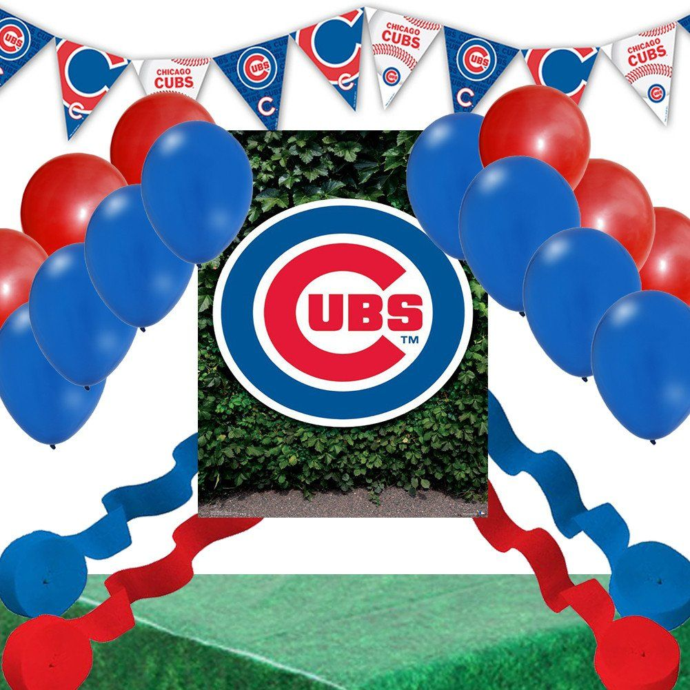 Chicago Cubs Party Decoration Set Ivy Poster Balloons Streamers Table Cover Banner