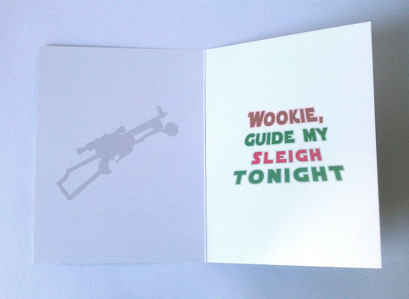 Chewbacca star wars christmas cards inside