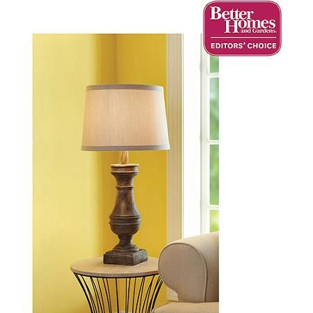 Charming Better Homes And Gardens Rustic Table Lamp Base, Distressed Wood