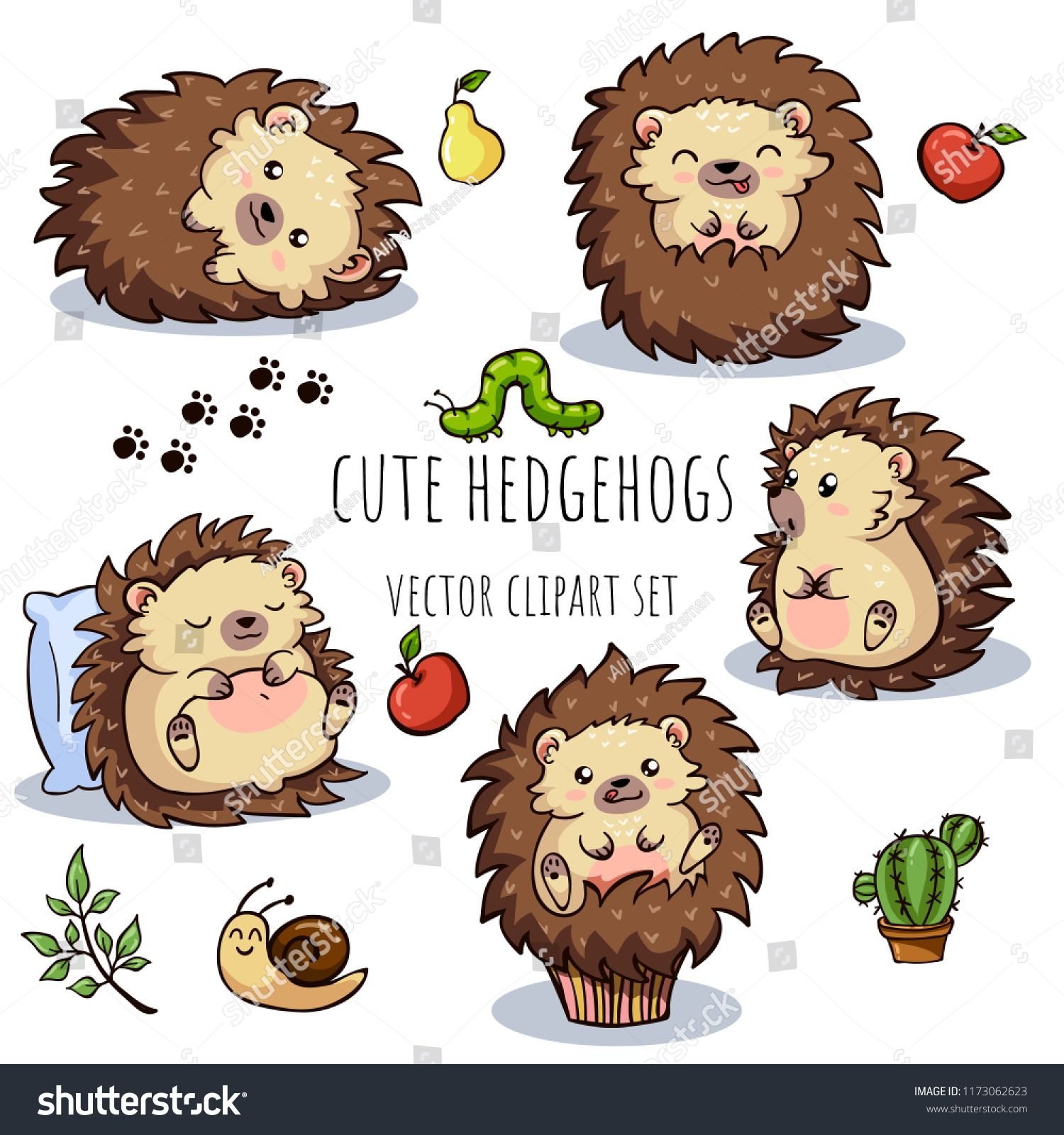 Cute Baby Hedgehog Cartoon Vector Clipart - FriendlyStock