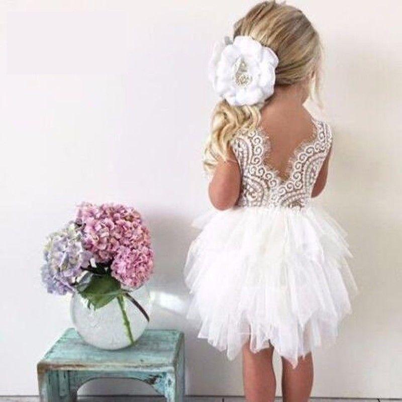 cce2c8855 Toddler Girls Lace Cake Dresses Children Princess Tutu Dress ...
