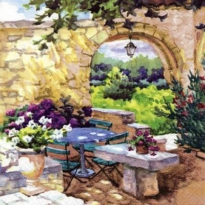 Patio Morning In Provence Decoupage Napkin Paper Napkins