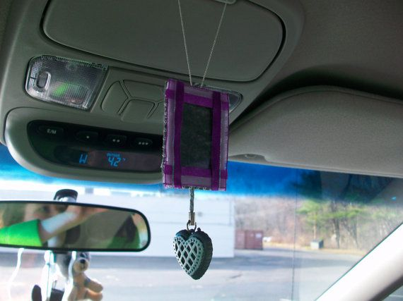 Rearview Mirror Picture Frame With Heart By Whisperkisscreations