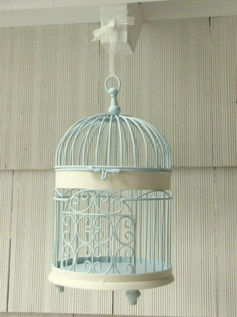 Decorative Bird Cage Hand Painted Pastel by upcyclesisters