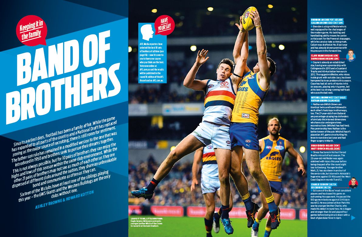 Afl Record Round 14 Brothers Feature Editorial Design Layout Magazine Layout Inspiration Wellness Design