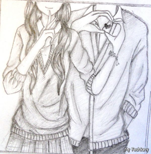 Pencil Sketches Of Girl And Boy Holding Hands