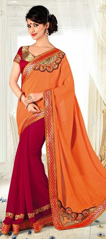 816b0b0e2a 168666 Orange, Red and Maroon color family Embroidered Sarees, Party Wear  Sarees in Faux Chiffon, Jacquard fabric with Lace, Machine Embroidery,  Patch, ...