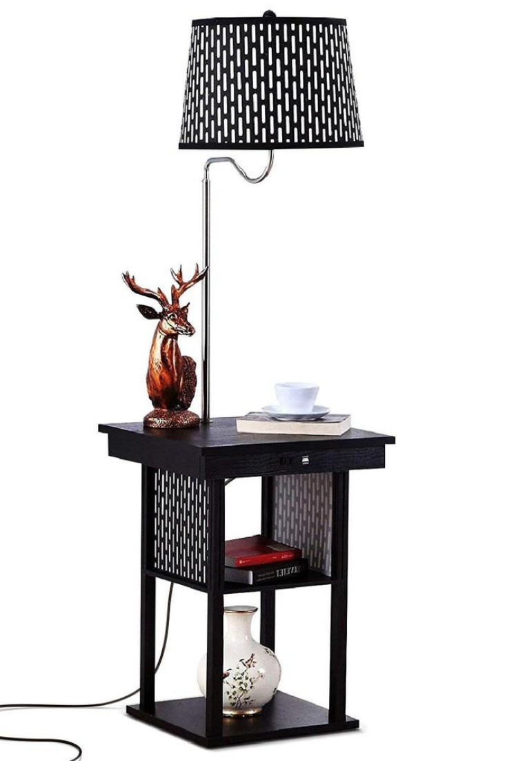 End Table With Lamp Built In Attached With Storage Living Room Floor Office Brightech Modern Side Table Floor Lamp Table Column Floor Lamp