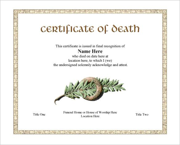 Death Certificate Is A Vital Document Which Is A Proof Of A