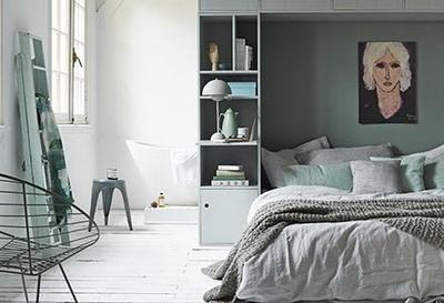 Slaapkamer Groen Grijs : Basic sfeer slaapkamer met groen grijs tinten inrichting