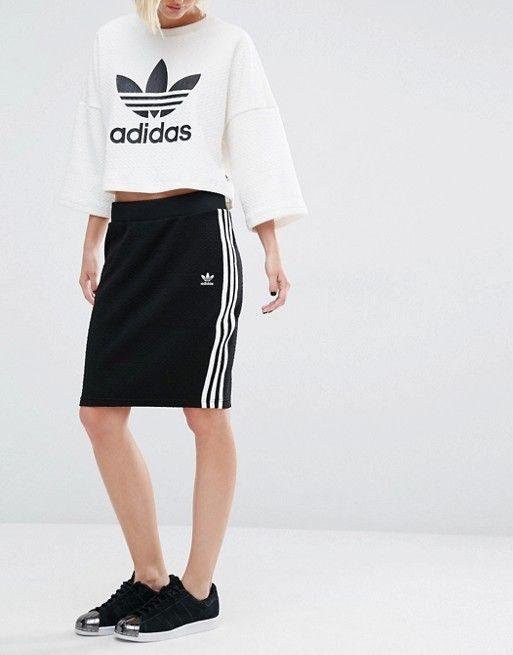 Shop adidas Originals Bonded Lace Skirt at ASOS.