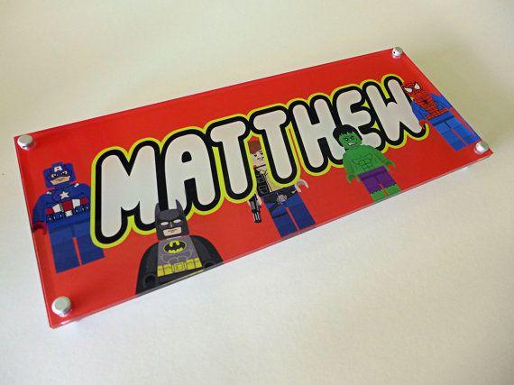 Personalised door sign, Acrylic Superhero door sign, Childrens
