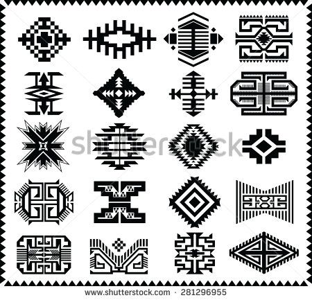 Aztec Navajo Indian American Vector Pattern Illustration Set