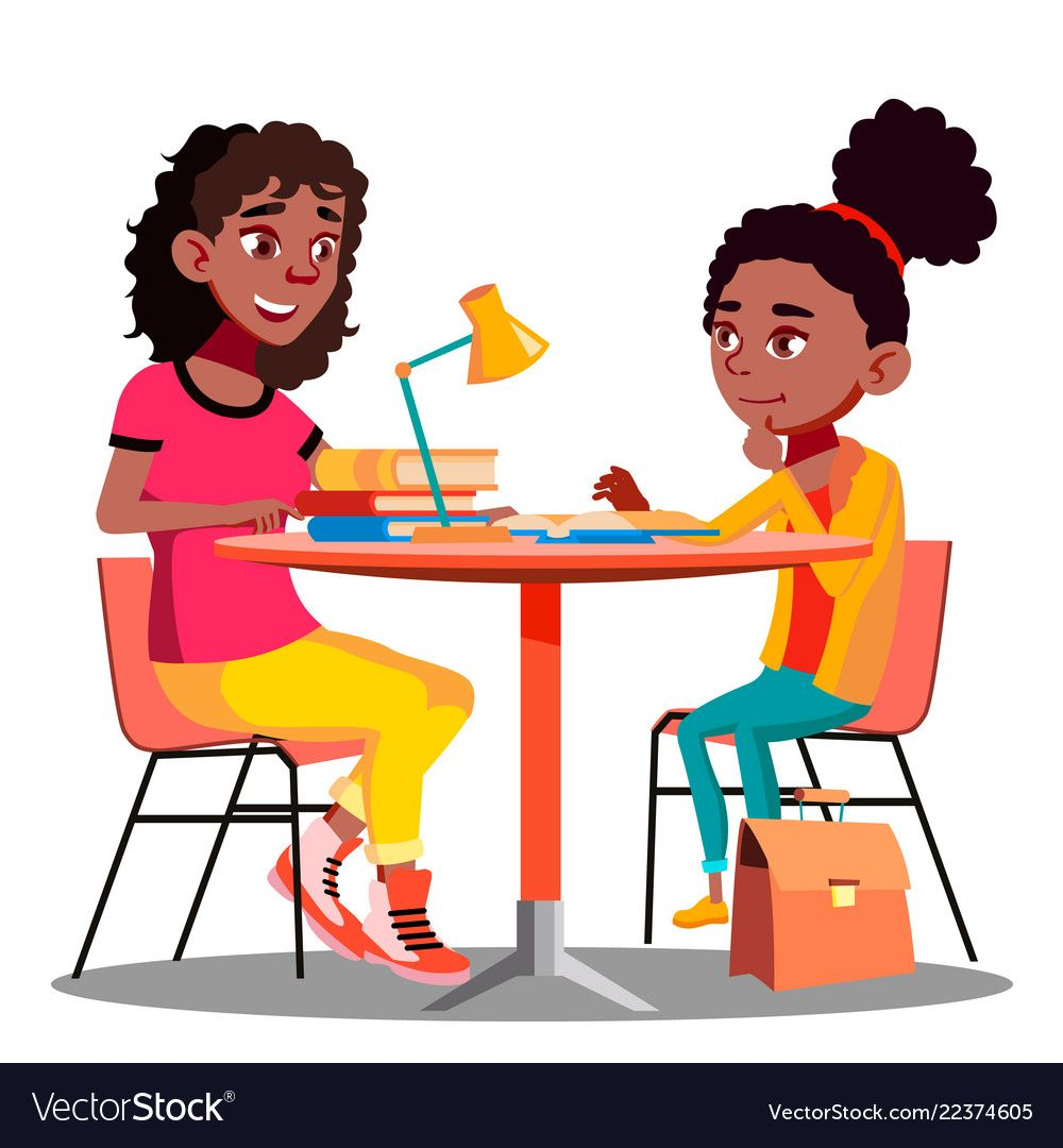 Afro american mother helps child do school vector image on