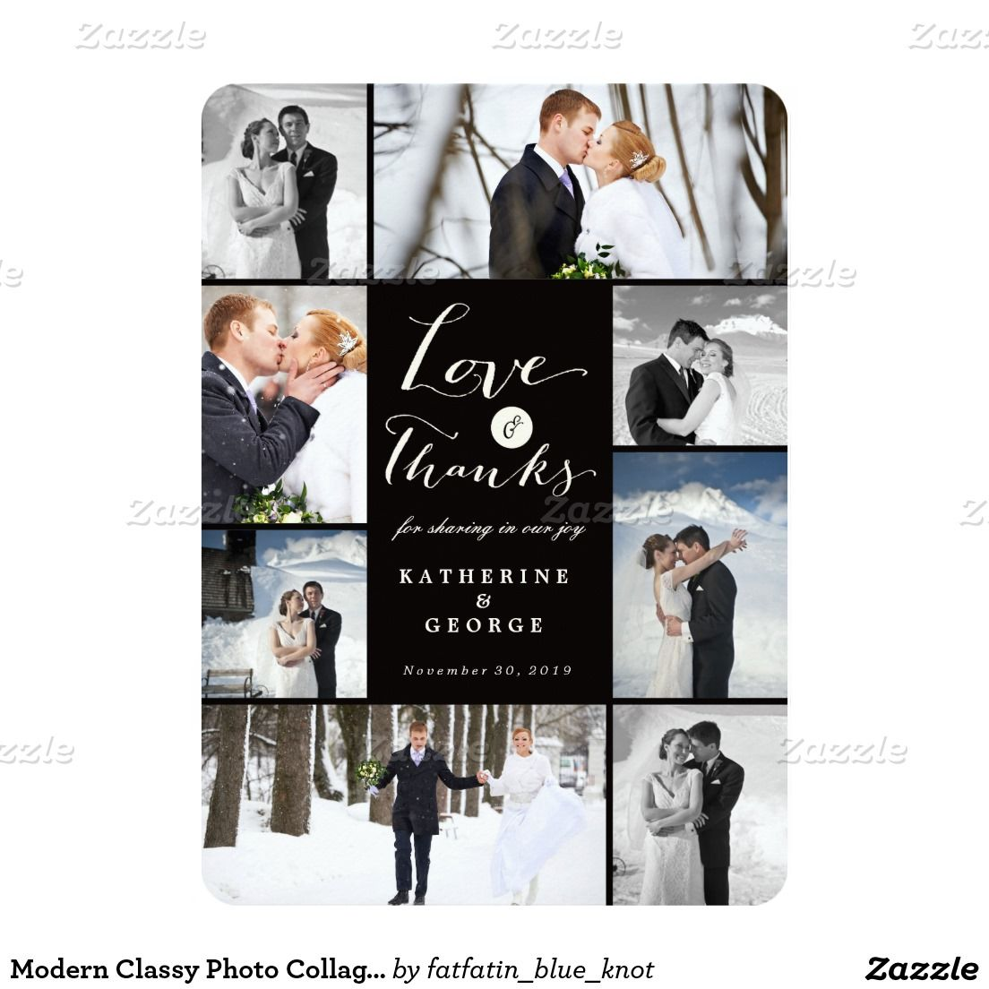 Love Thanks Photo Collage Wedding Thank You Card Exceptional