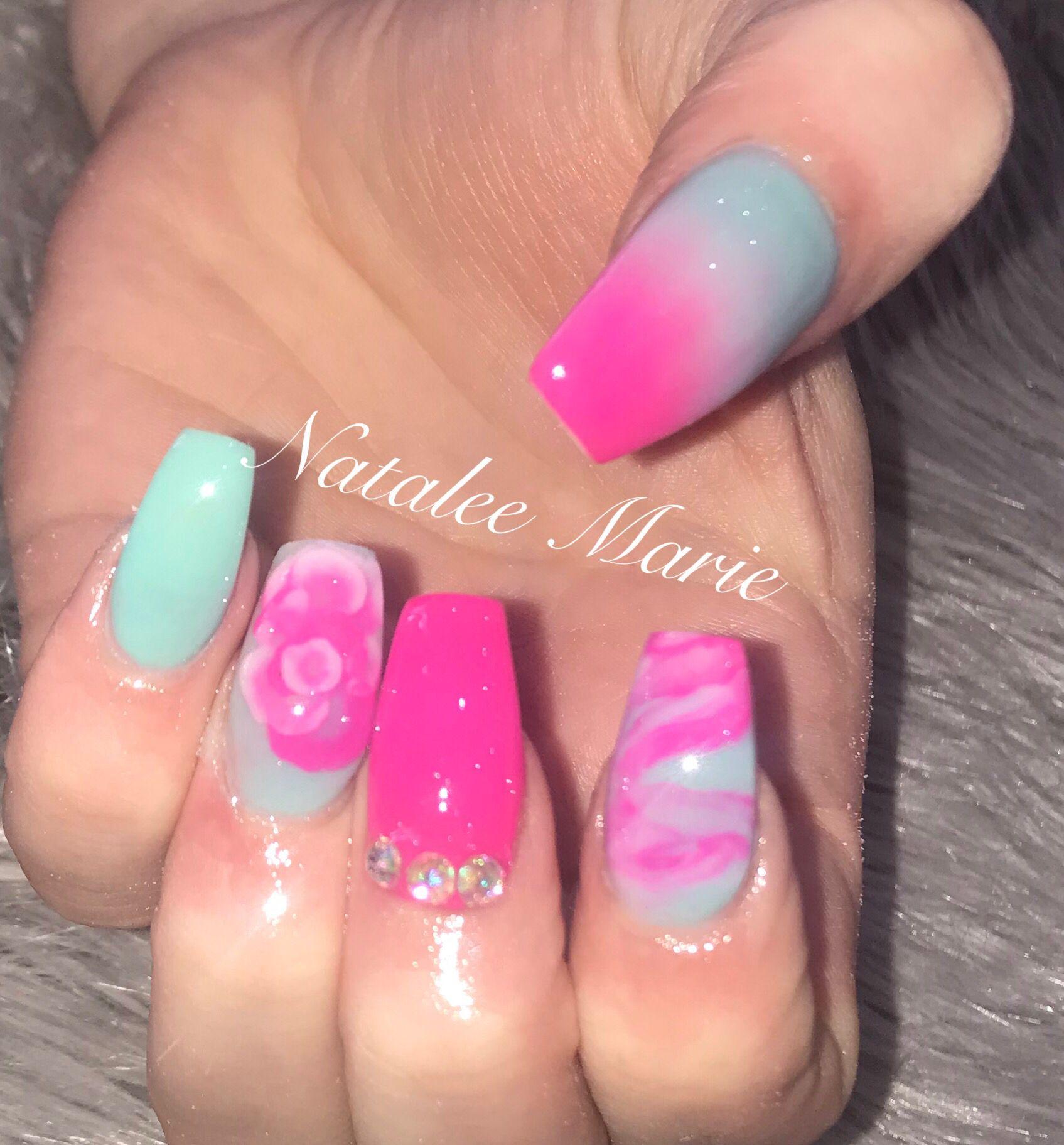 Pink And Green Nails Green Nails Summer Nails Neon Nail Designs Summer