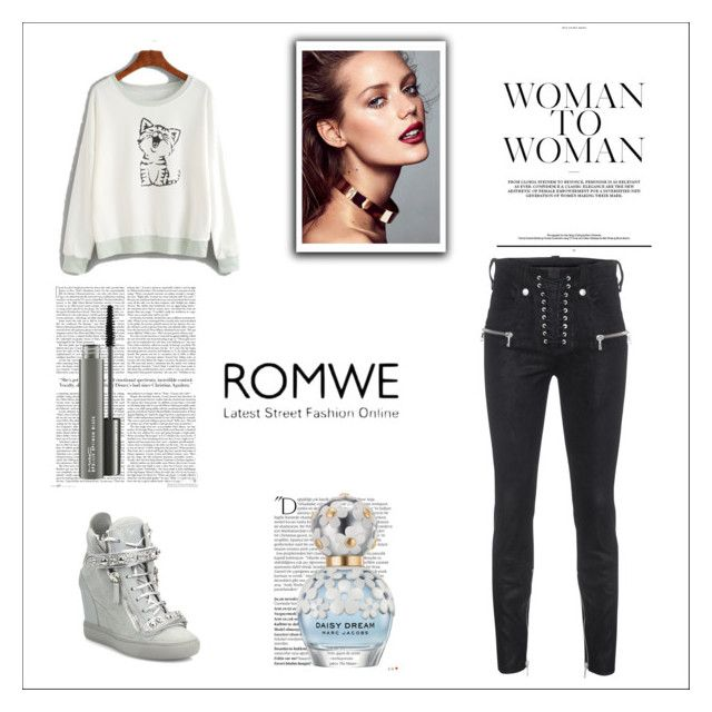 """""""Romwe contest"""" by pingoce ❤ liked on Polyvore featuring Unravel, Giuseppe Zanotti, Balmain, Marc Jacobs and MAC Cosmetics"""