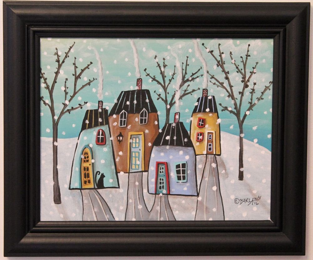 details about winter houses original framed canvas panel painting folk 8 x 10 karla gerard