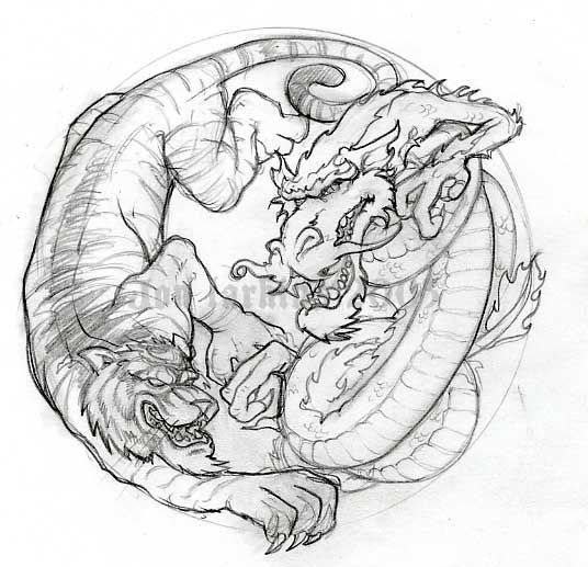 Abstract Lion With Yin Yang: Dragon And Tiger By Jonlarkins On DeviantArt