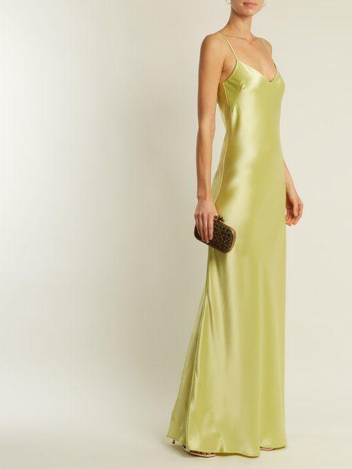 Bias-cut satin-back crepe gown Galvan lLv1dt