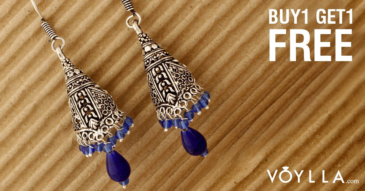 Cone Shaped Jhumki Earrings With Dangling Blue Beads PRODUCT CODE:	028611 #WorthItVMA #stylish #cndirect #Versace #classic