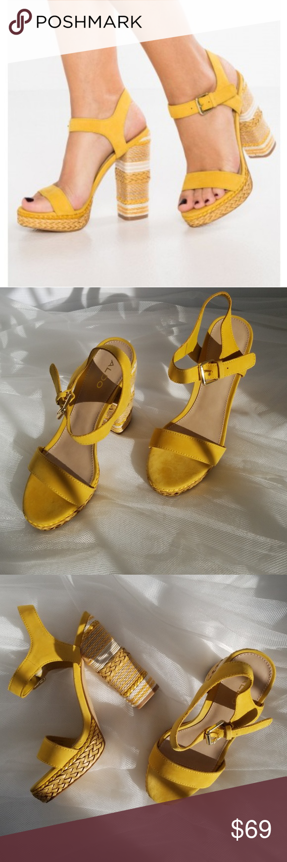 05cec815 Aldo Huglag Mustard Sandals - NWT Rock this block heel sandal to elevate  warm-weather