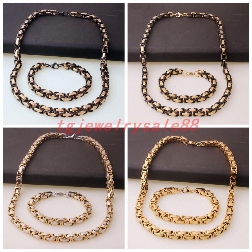 8mm Wide Fashion SilverGoldBlackRose Gold Color Byzantine Chain