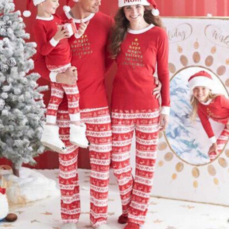 Christmas Family With Children Deer Sleepwear Nightwear Pajamas Set