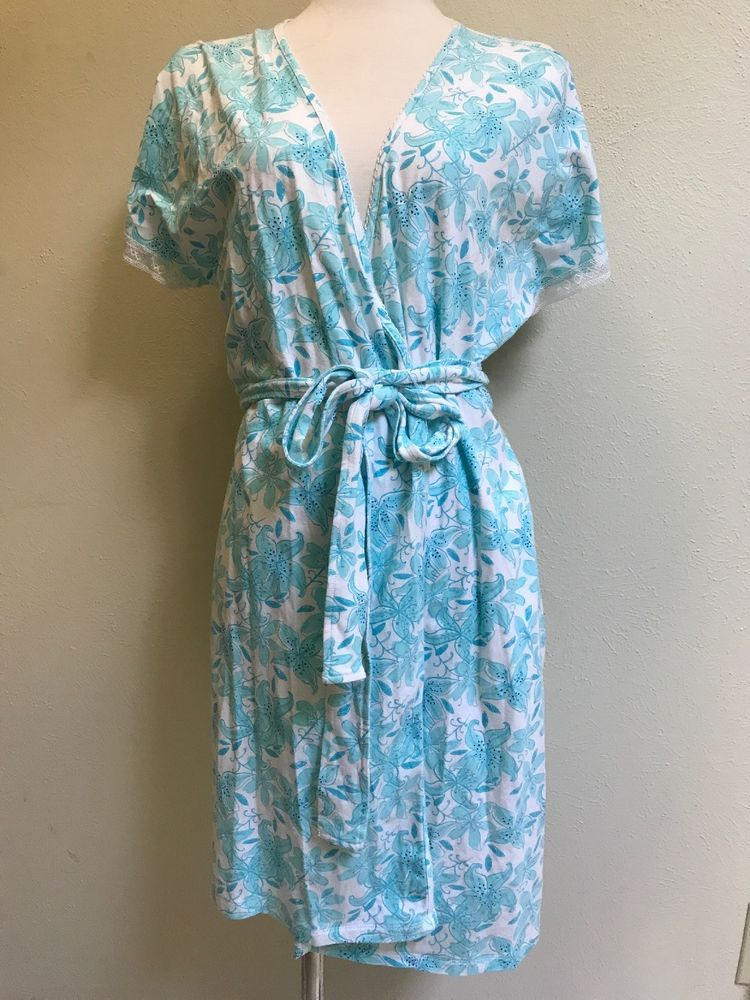 f095ae5552 Lilly Pulitzer Sz Medium Short Lace Sleeve Cotton Aqua Blue Floral Women s  Robe  LillyPulitzer  Robes