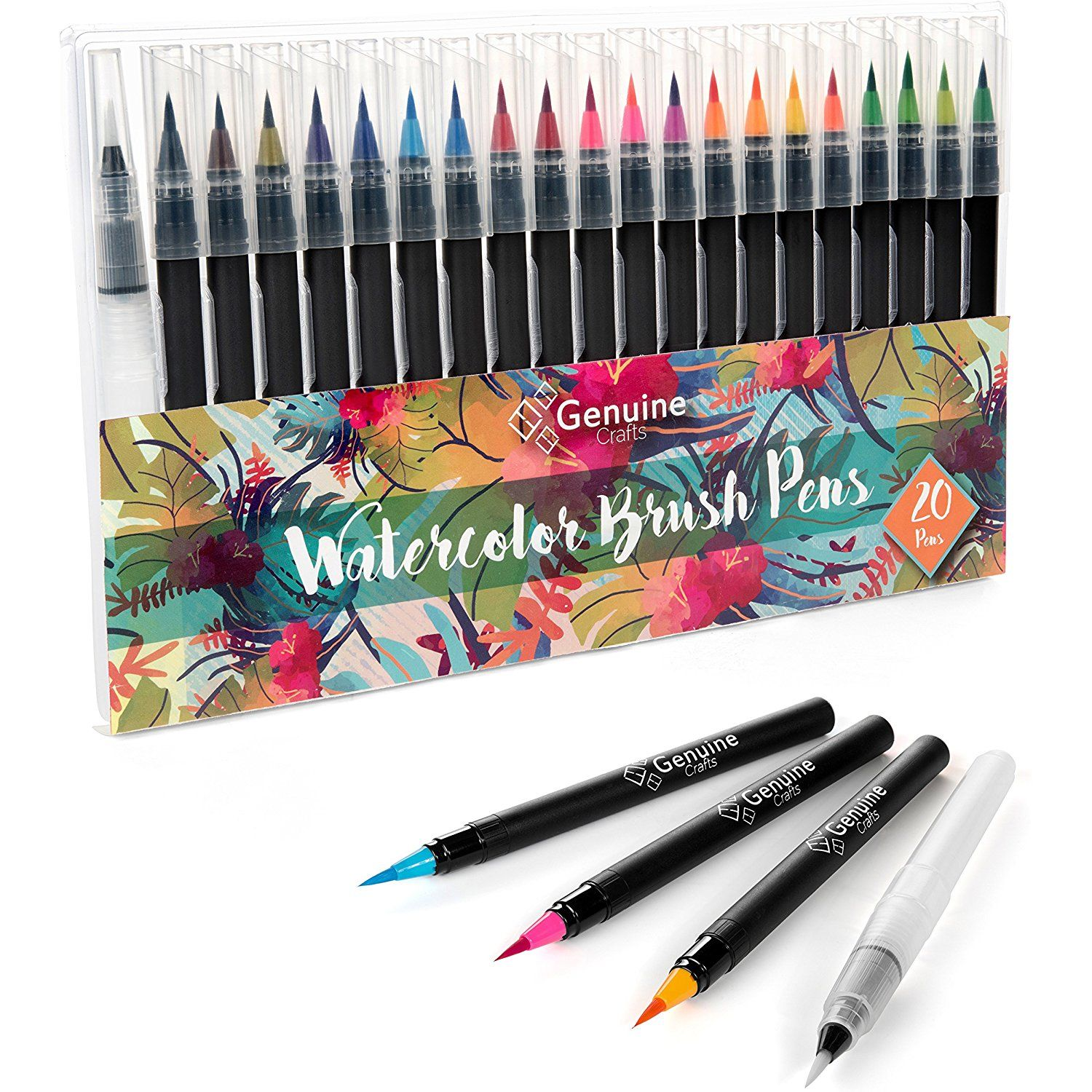 Genuine Crafts Watercolor Brush Pen Set 20 Premium Colors Real