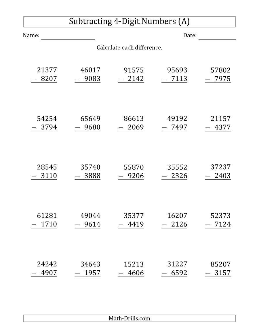 The 5-Digit Minus 4-Digit Subtraction (A) Math Worksheet from the  Subtraction Worksheets Page at …   Math worksheets [ 1165 x 900 Pixel ]