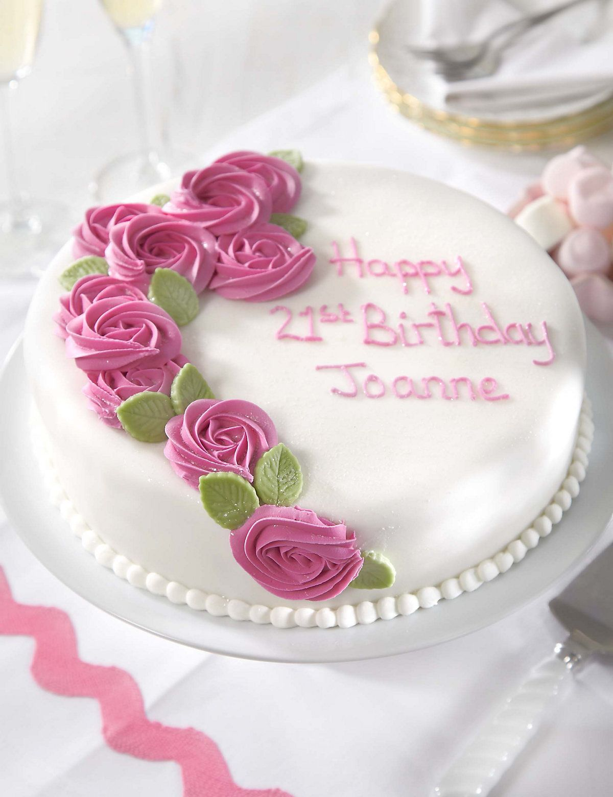 Personalised Piped Rose Pink Round Sponge Cake (Serves 32 ...
