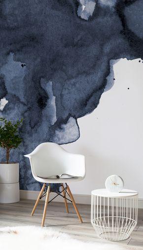Marineblau Rauch Aquarell Wandgemälde - Huiskamer, Slaapkamer en ...
