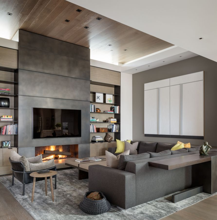 innovative living room fireplace design ideas | A blackened steel fireplace wall completed by Mayer ...
