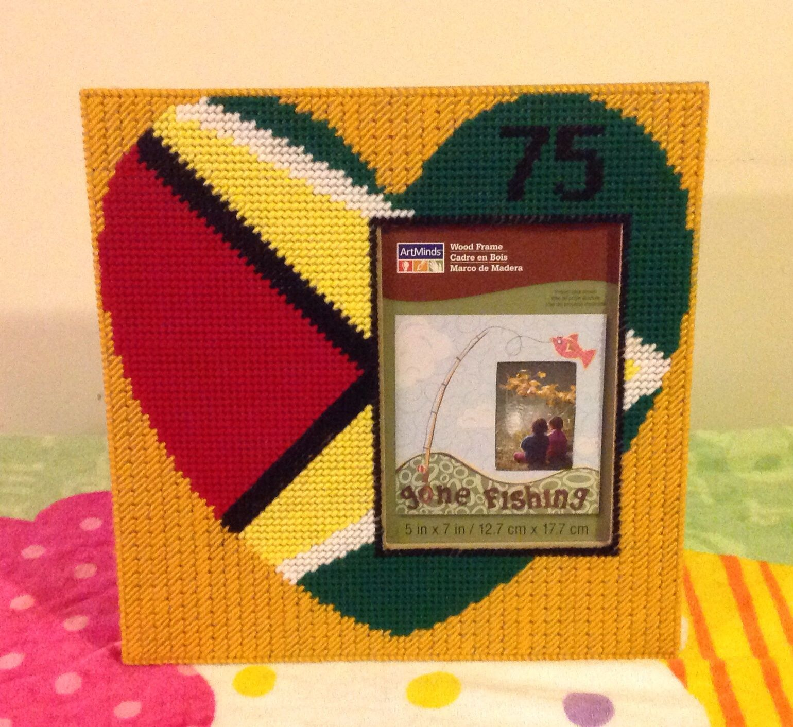 Cross stitch Guyana Photo Frame by Marcelle Powell