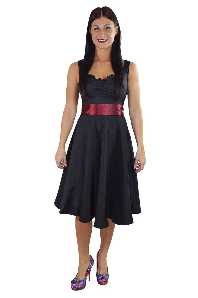 60 S Vinatge Retro Design Little Black Satin Dress With Burgundy Sash Ribbon Belt Black Satin Dress Satin Dresses Black Bridesmaid Dresses