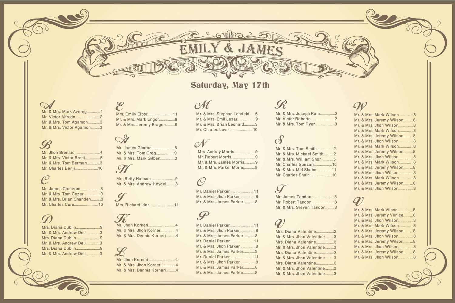 Wedding Seating Chart Vintage For Your Reception  Personalized