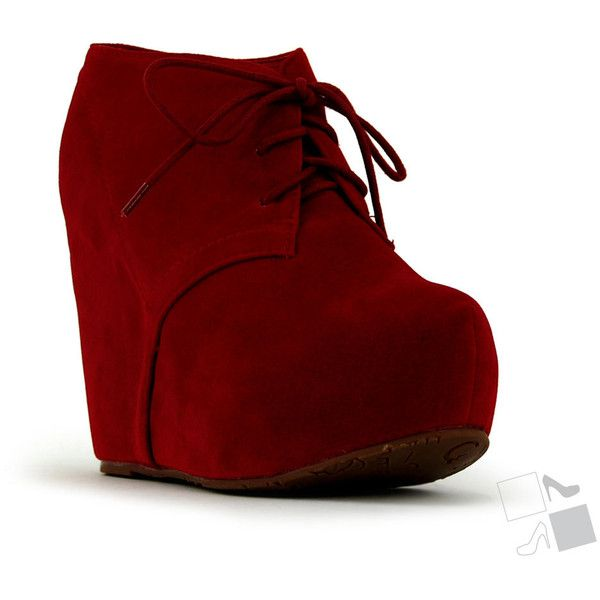 Red Lace Up Wedge Bootie MyHotShoes.com via Polyvore