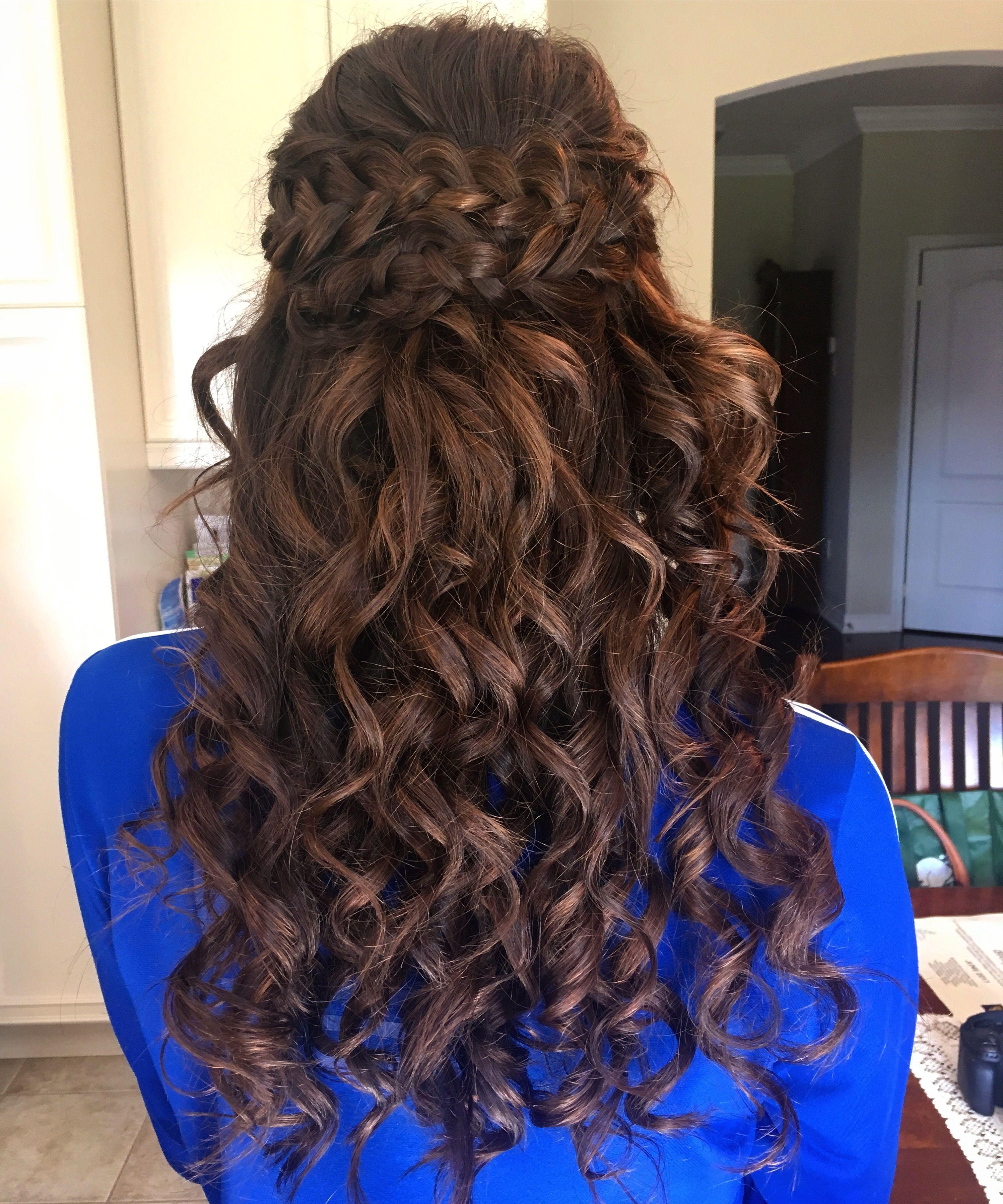 Bridesmaid / prom hair, half up half down, braids | Braids ...