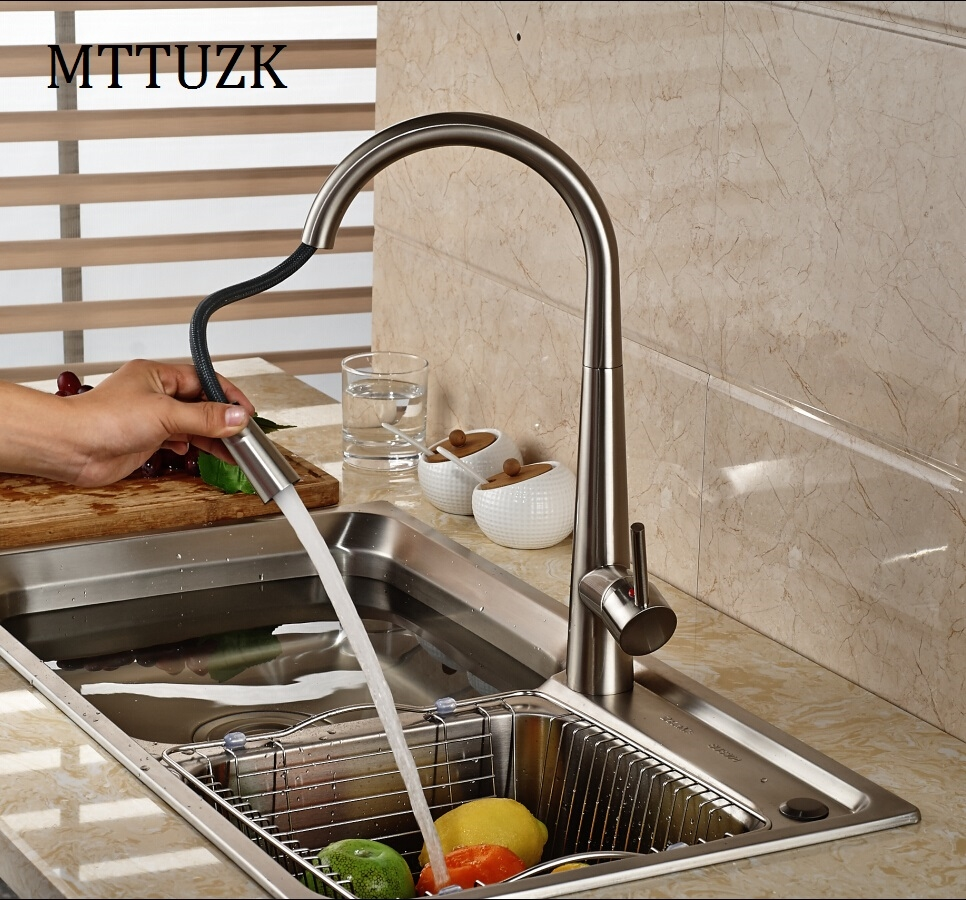 cheap kitchen faucets 61 63 Buy here MTTUZK Free Shipping Pull out kitchen faucet Brushed Nickel