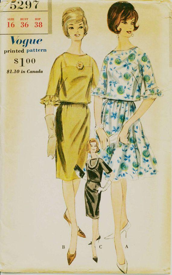 1960s Blouson Dress Pattern VOGUE 5297 Two Piece Dress and Petticoat ...