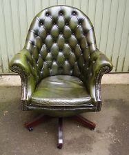Chesterfield Green Leather Swivel Office Desk Chair Captains Directors