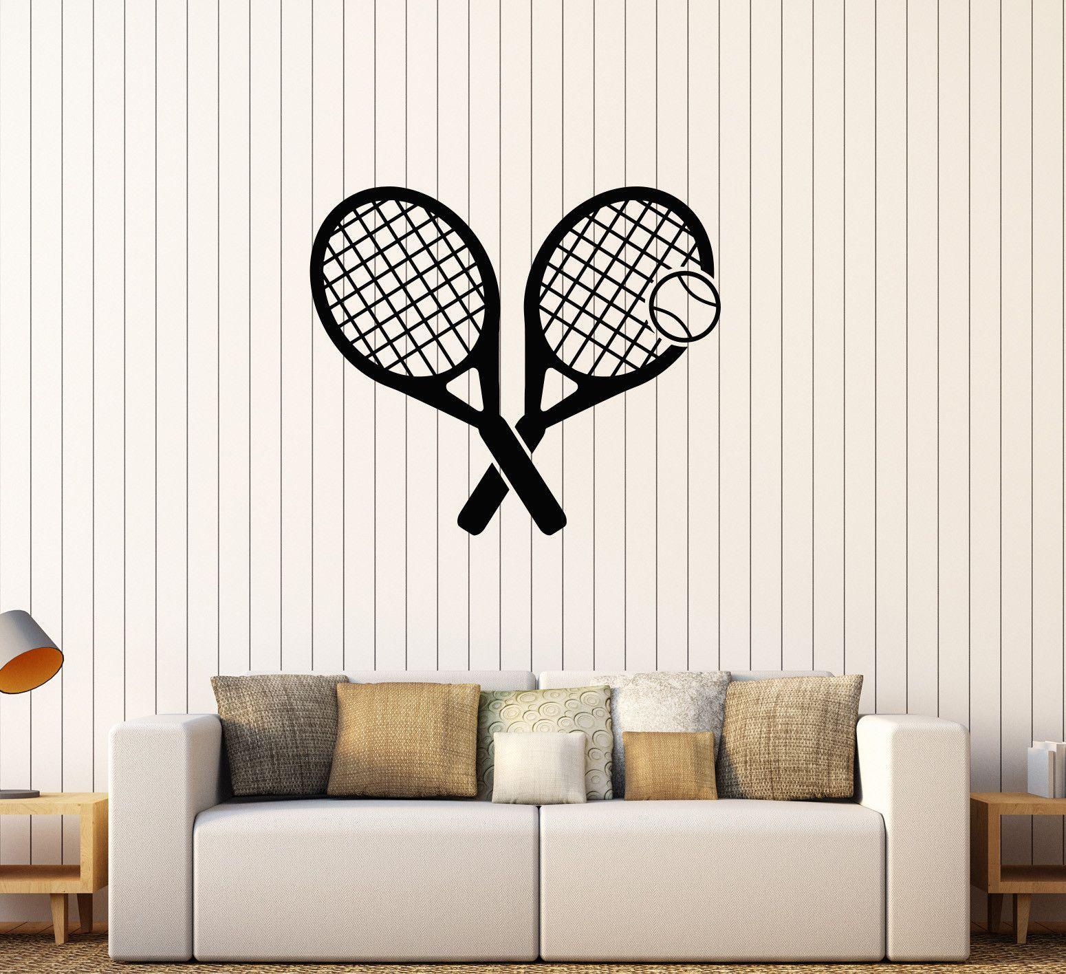 Vinyl Wall Decal Tennis Rocket Sport Game Stickers Mural (524ig)