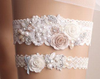 Wedding Garter Set Bridal Lace White Crystal Toss