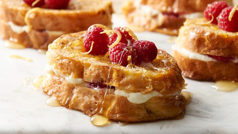 Lemon-Raspberry Ricotta Baked French Toast for Two -  Lemon-Raspberry Ricotta Baked French Toast fo