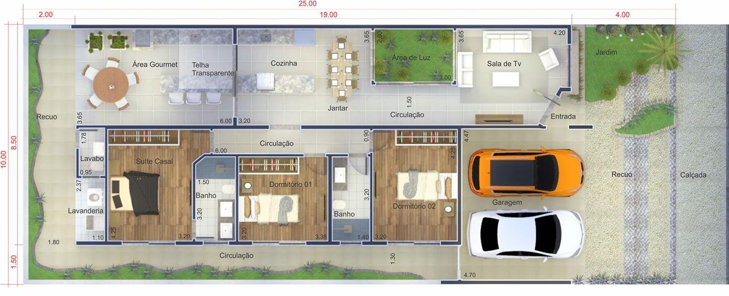 Muito Planta de casa com ambientes integrados. Planta para terreno 10x25  CO05