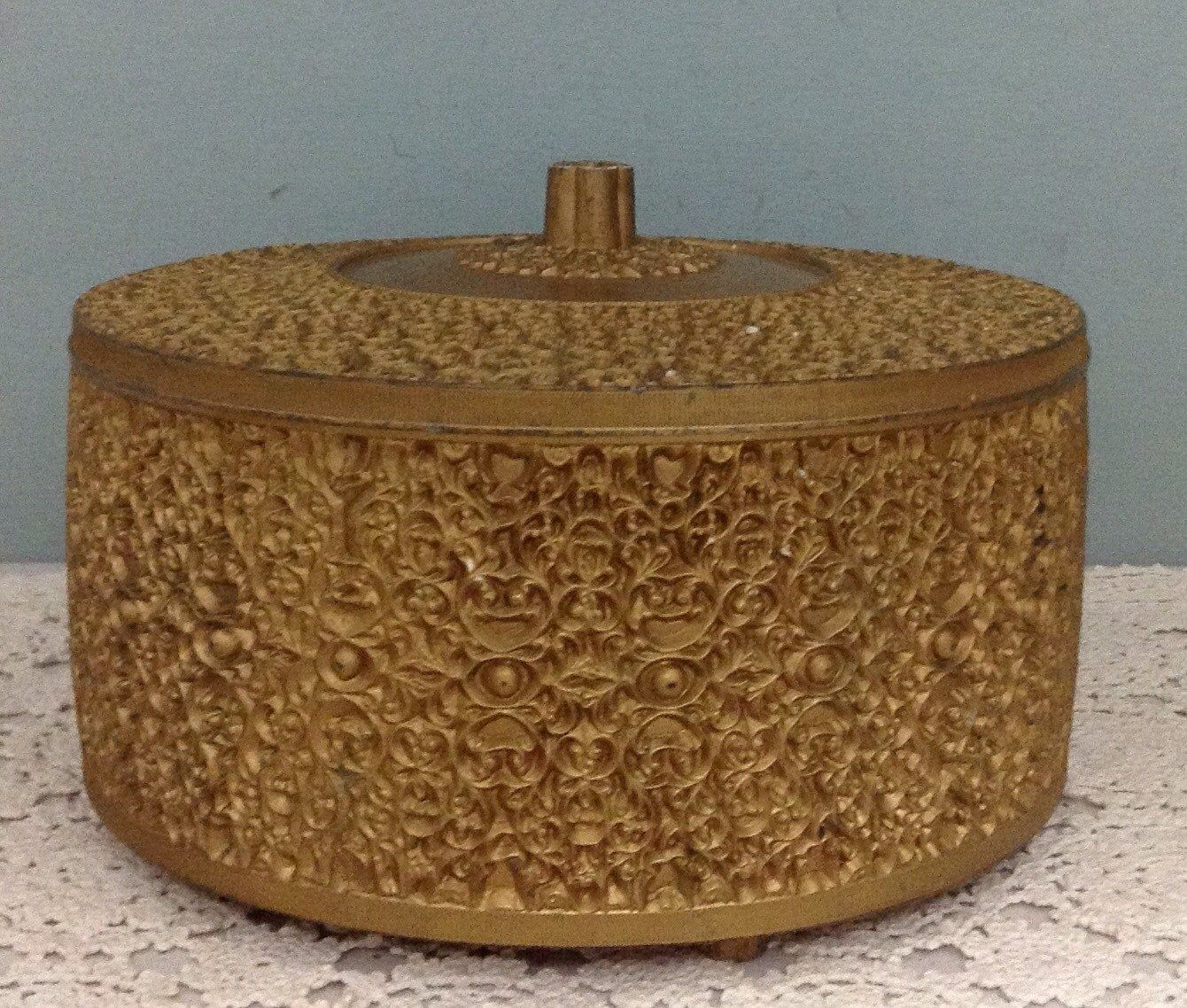 Ceramic Trinket Box  Hollywood Regency Ceramic Box  Vintage Jewelry Box